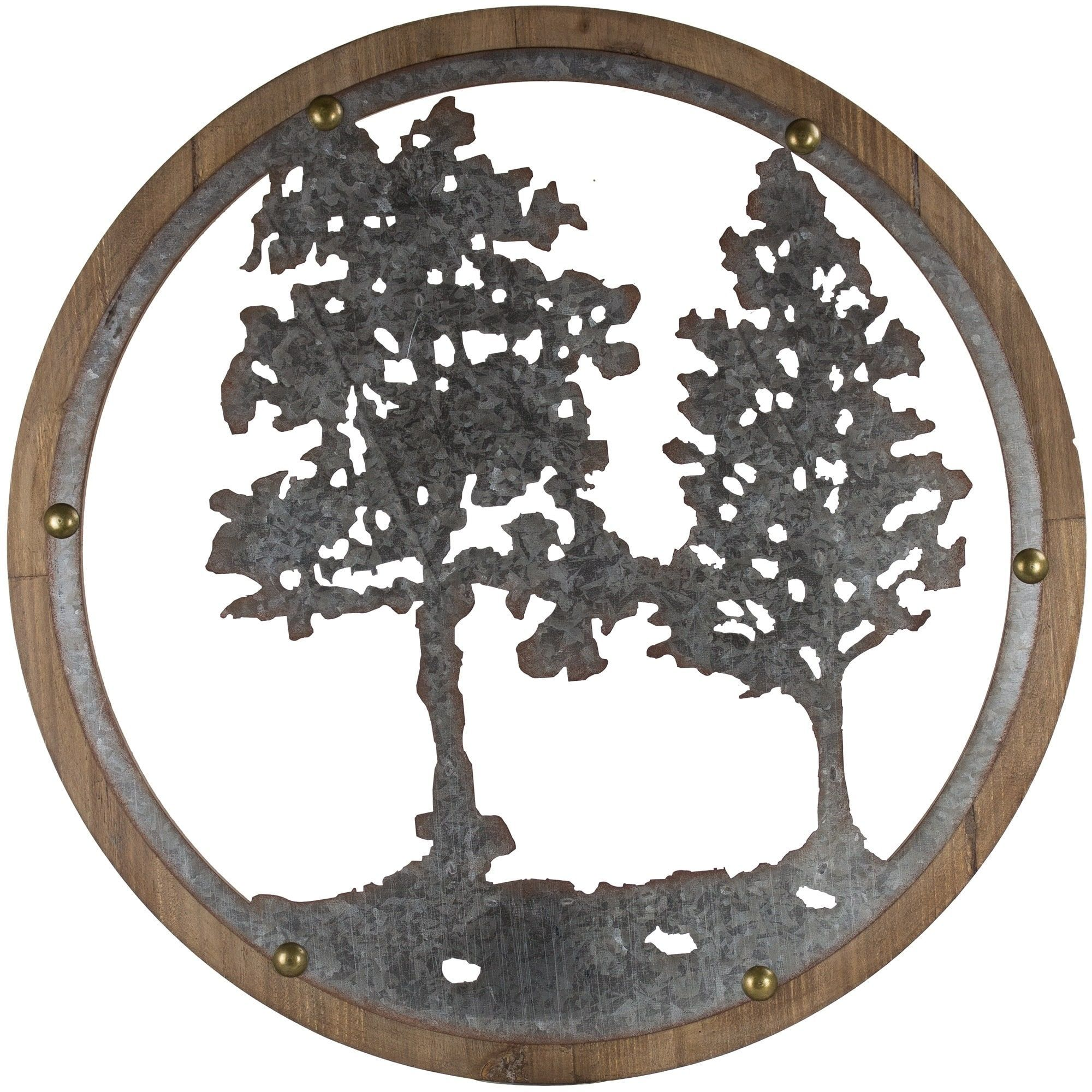 Gallery and galvanized metal tree round wall decor products