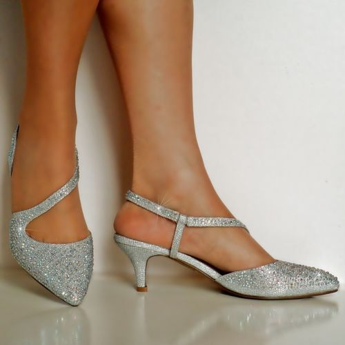 New Ladies Diamante Party Evening Prom Low Kitten Heel Court Shoe Size 007 Bridal Shoes Low Heel Silver Shoes Low Heel Kitten Heel Shoes