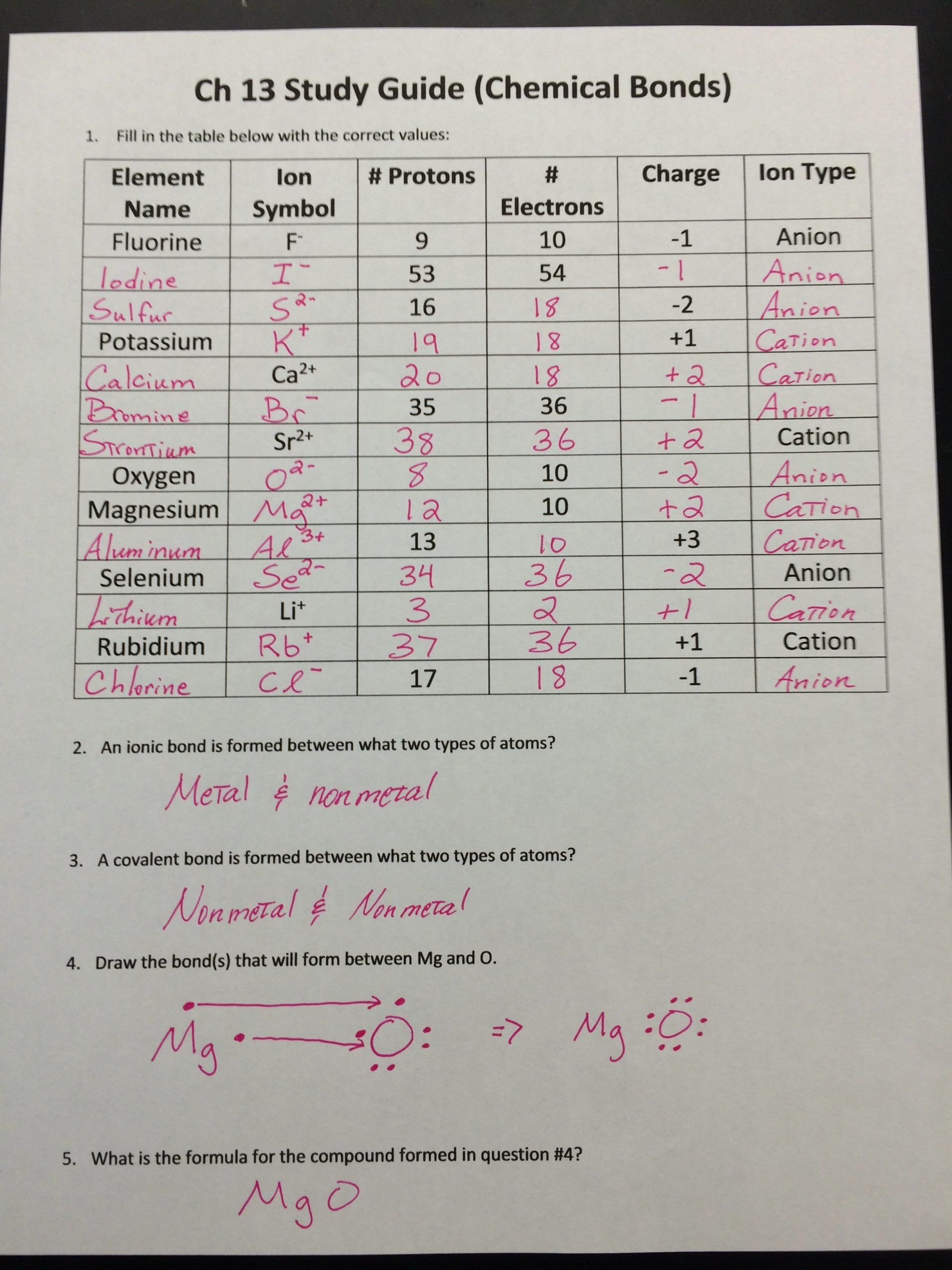 Covalent Bonding Activity Worksheet Worksheet Chemical Bonding With Answers In 2020 Chemical Bond Covalent Bonding Worksheet Covalent Bonding