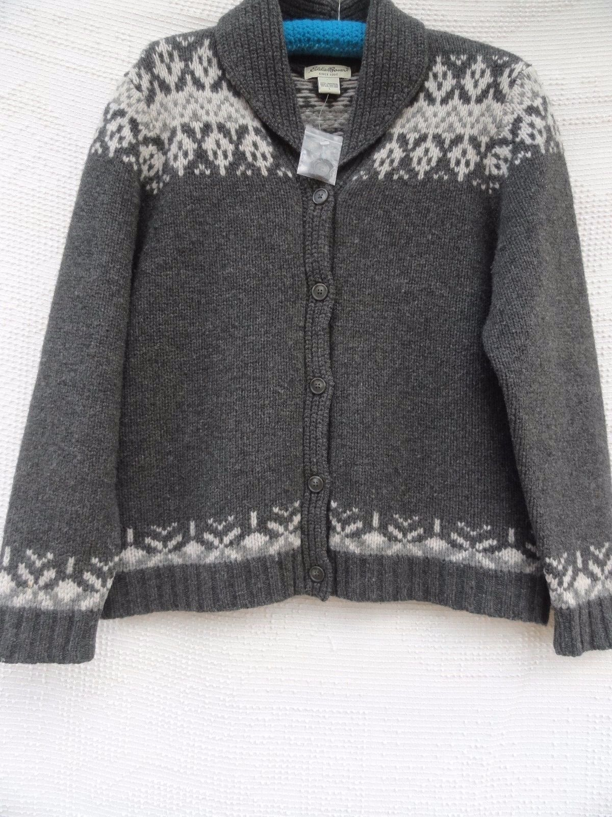 Eddie Bauer New Wool Cardigan Sweater Misses L Gray 100 Lambswool ...