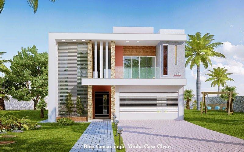 Construindo minha casa clean projeto da minha fachada com muros e - Fachadas De Casas Com Garagem Fachadas De Casas Casa