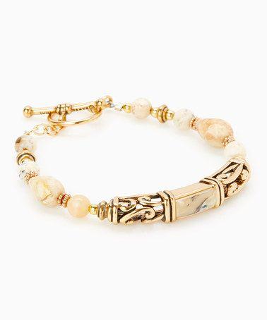 Another great find on #zulily! African Opal & Bronze Beaded Bracelet #zulilyfinds