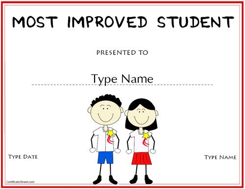 Education certificate most improved student award education certificate most improved student award certificatestreet blank certificatefree printable yadclub Images