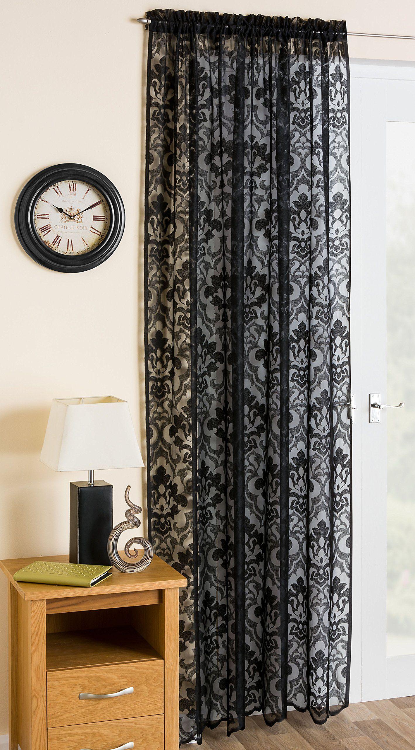 Black Lace Damask Voile Net Curtain Panel 72 183cm Amazon Co
