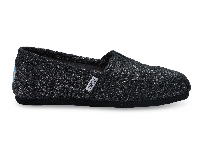 10974f3d74 undefined Black Textured Glitter Women's Classics Brillo Negro, Toms De  Brillo, Zapatos Deportivos De