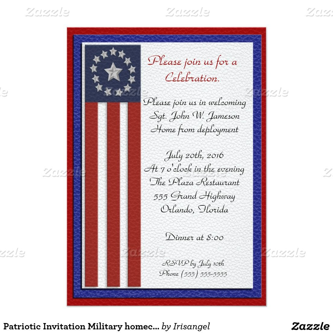 patriotic invitation military homecoming party military retirement
