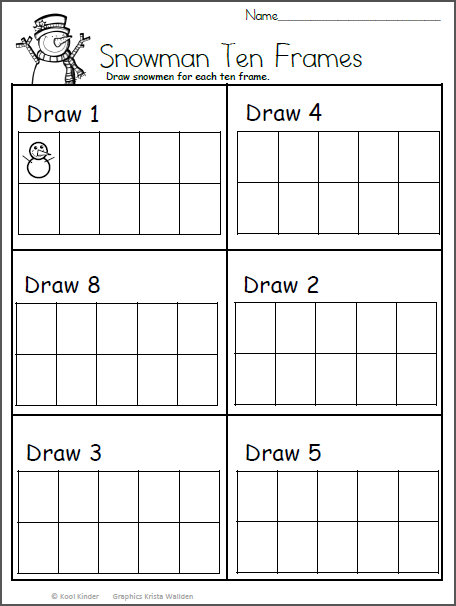 snowmen ten frame worksheet kindergarten math kindergarten math worksheets kindergarten. Black Bedroom Furniture Sets. Home Design Ideas