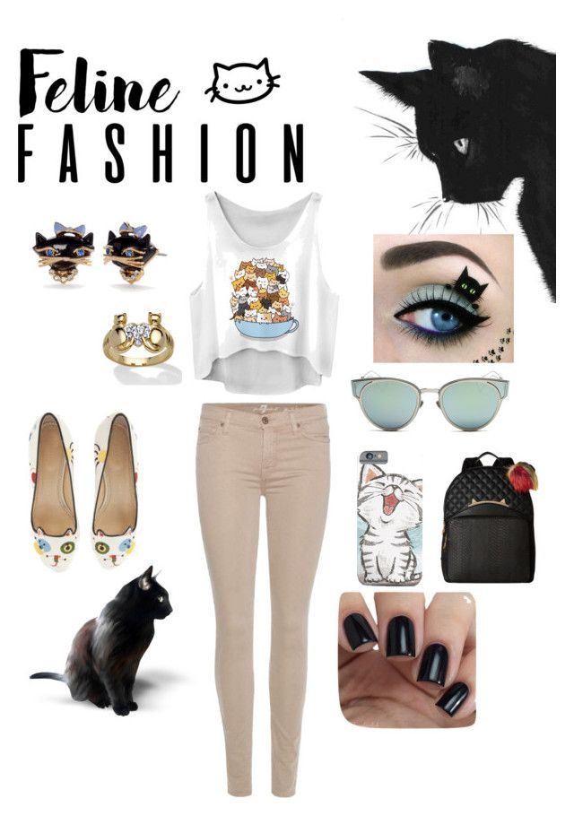 """Feline fashion"" by vanessaperez0413 on Polyvore featuring Charlotte Olympia, Kate Spade, Christian Dior, Palm Beach Jewelry, Betsey Johnson and 7 For All Mankind"