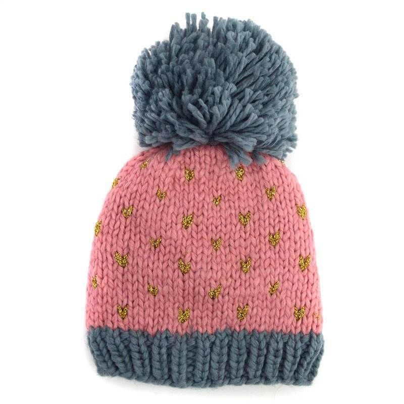 Big Bobble Chevron Flecked Knitted Beanie Hat Pink | eBay | Tejidos ...