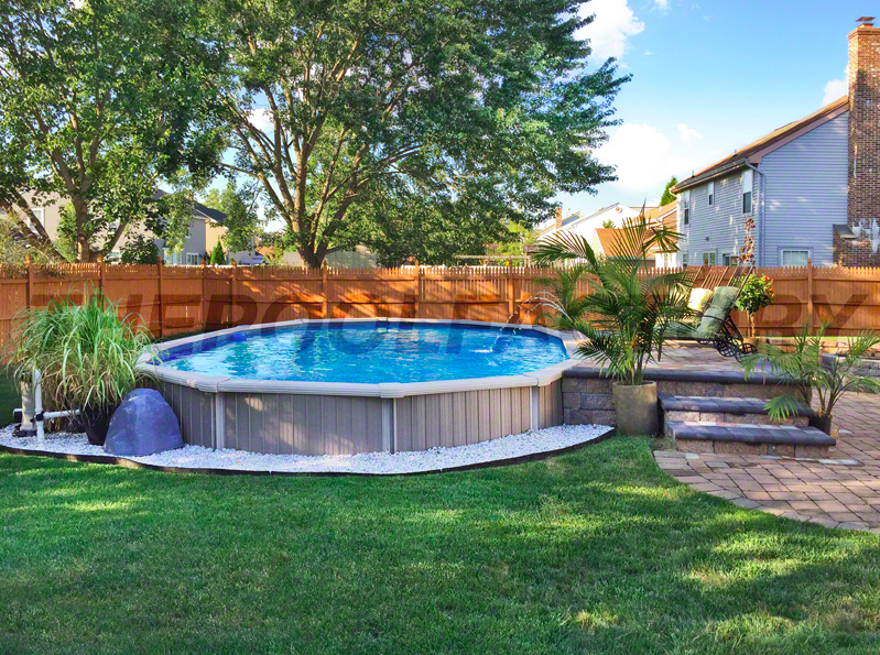 An Above Ground Swimming Pool Has Many Advantages But There Are Regulations Re Backyard Pool Landscaping Above Ground Pool Landscaping Swimming Pools Backyard
