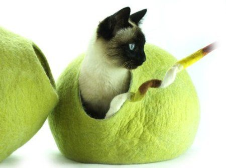 Katzenhaus / Bett / Betthöhle, handgefertigt aus natürlichen, ökologischen Wolle. Farbe Birkengrün.: Amazon.de: Haustier