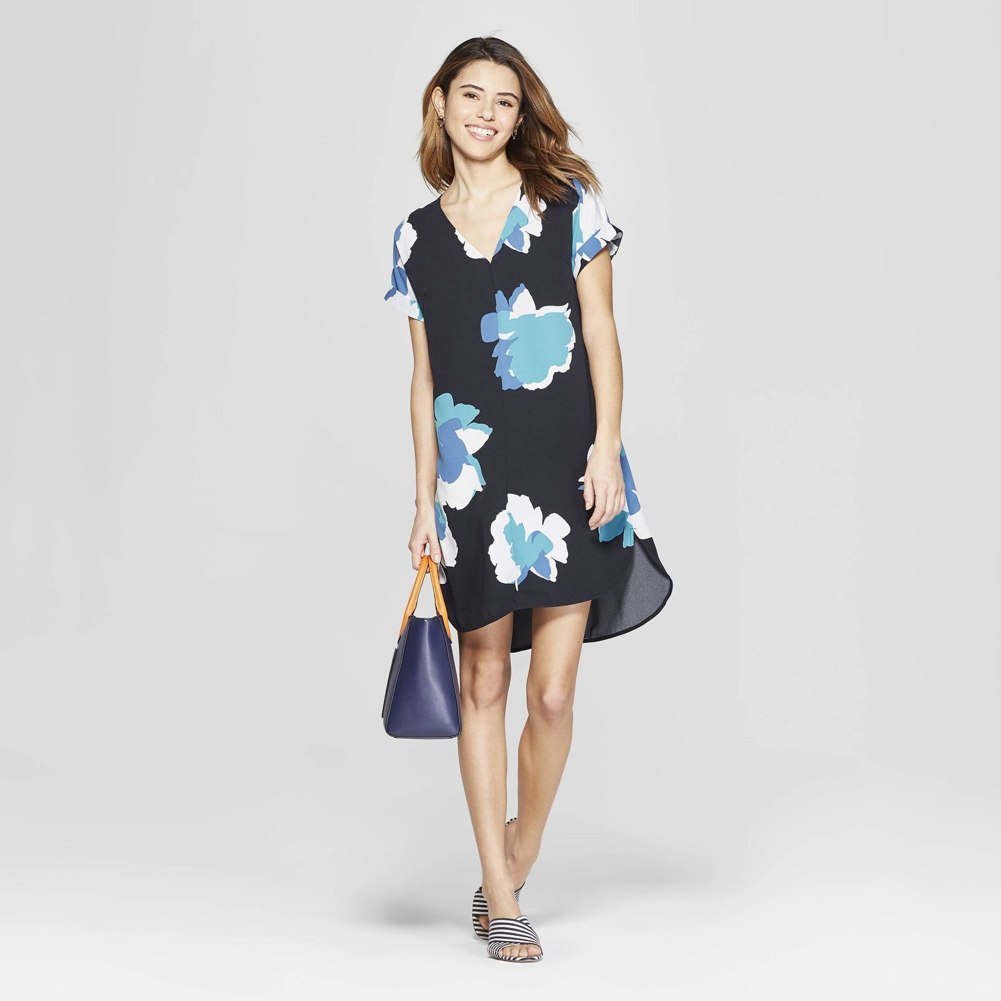 b04d5f8aa86fa Women s Floral Print Short Sleeve V-Neck Crepe Dress - A New Day Navy M