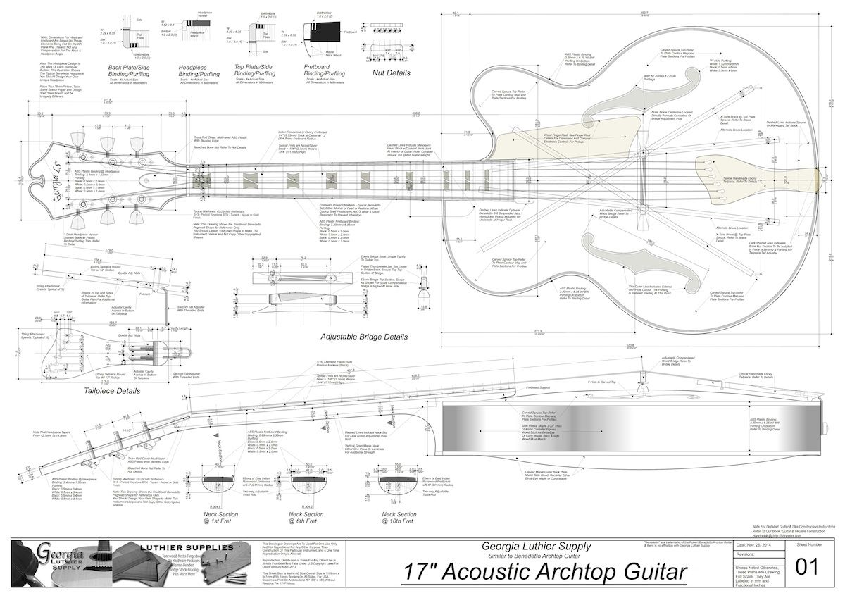 Benedetto 17 Archtop Guitar Plans Electronic Version Georgia Luthier Supply Quality Guita Construcao De Guitarra Projeto De Guitarra Guitarra Semi Acustica