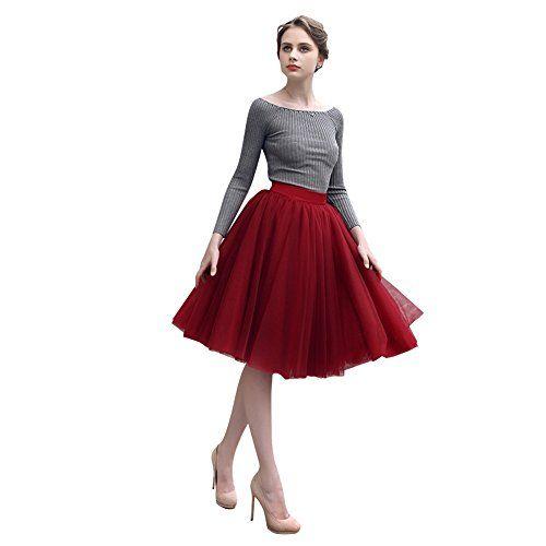 Preferhouse Maxi Skirts for Women Plus Size Knee Length R...