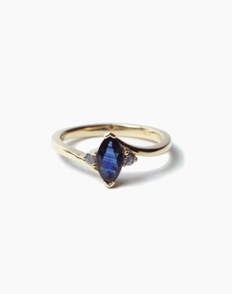 Unique Genuine Sapphire Marquise Promise//Proposal Ring in Yellow Gold