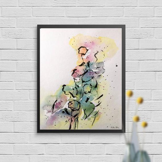Ursprüngliche Aquarellaquarellmalerei Kunstart-Wandbildzusammenfassung Abstrakte Malerei der modernen Kunst des Aquarells #wasserfarbenkunst