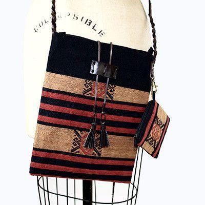 Handmade Naga Hill Tribe Crossbody Handbag With Braided Leather Strap