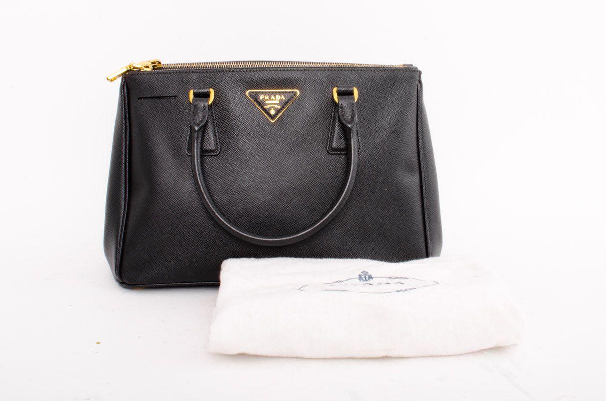 ffed57c994ed4e PRADA Saffiano Black Textured Leather Gold Zipper Tote Handbag Bag Purse  Medium