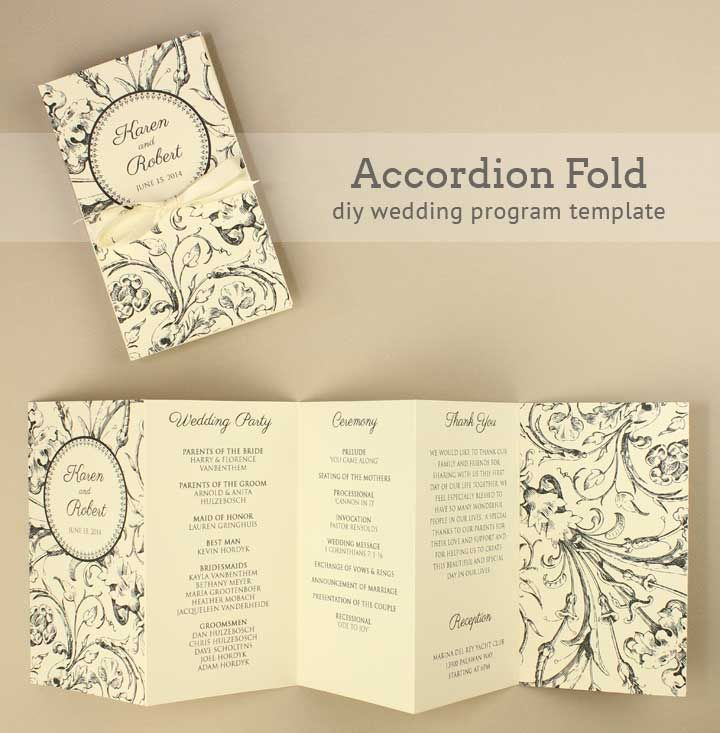 Diy Tutorial Free Printable Folded Wedding Program  Wedding