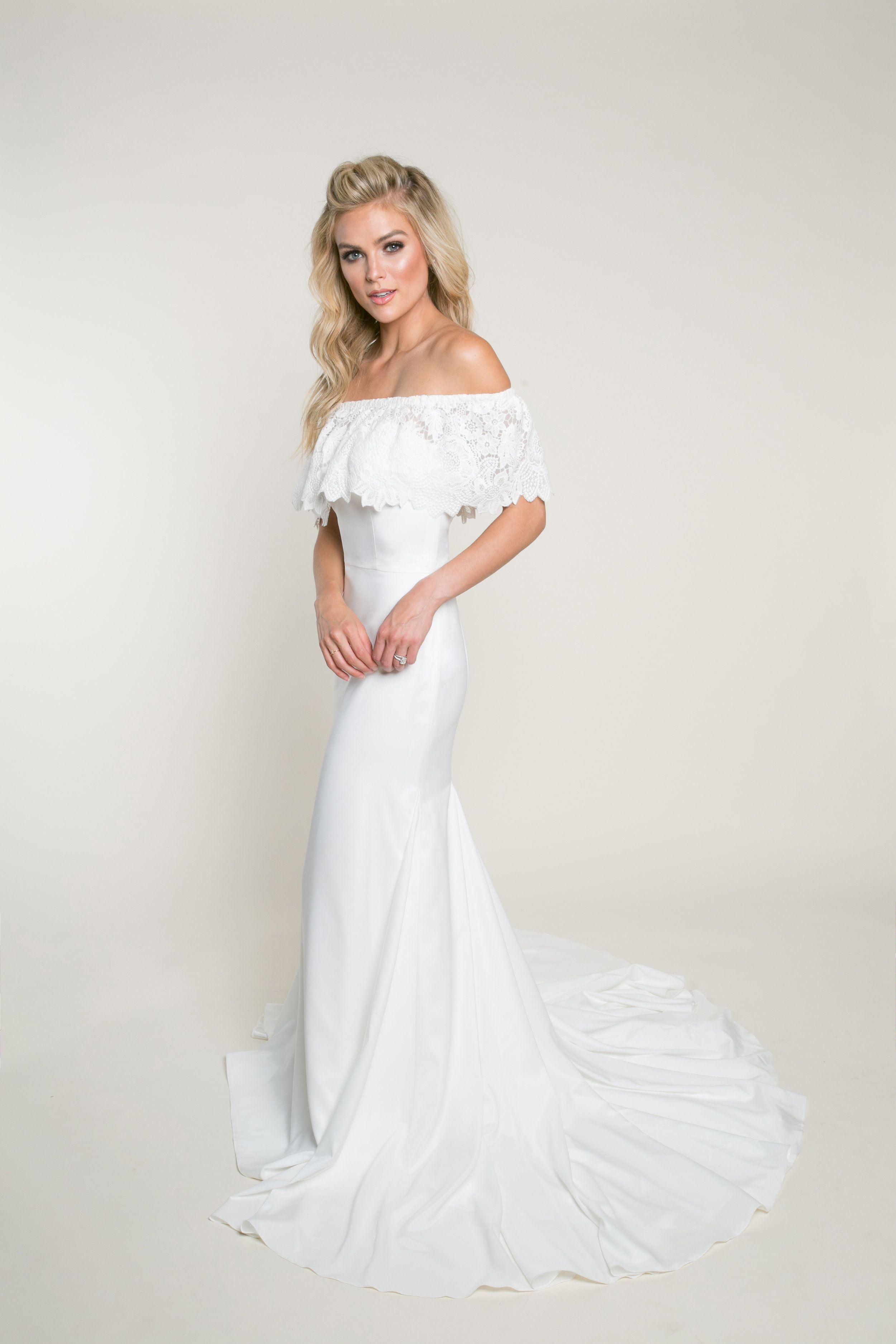 Affordable Wedding Dresses With Sleeves | Crepe wedding dress ...