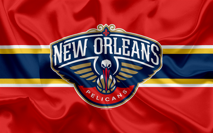 Download wallpapers New Orleans Pelicans, basketball club, NBA, emblem, logo, USA, National Basketball Association, silk flag, basketball, New Orleans, Louisiana, US basketball league, Southwest Division