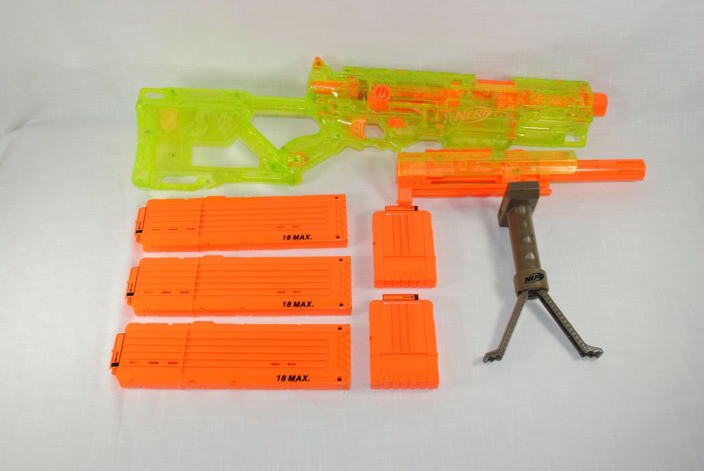 Nerf Rival Artemis Blue High capacity blaster holds 30 high-impact rounds  Rotating barrel Easy-load integrated magazine Slam-fire action Includes  blaster, ...
