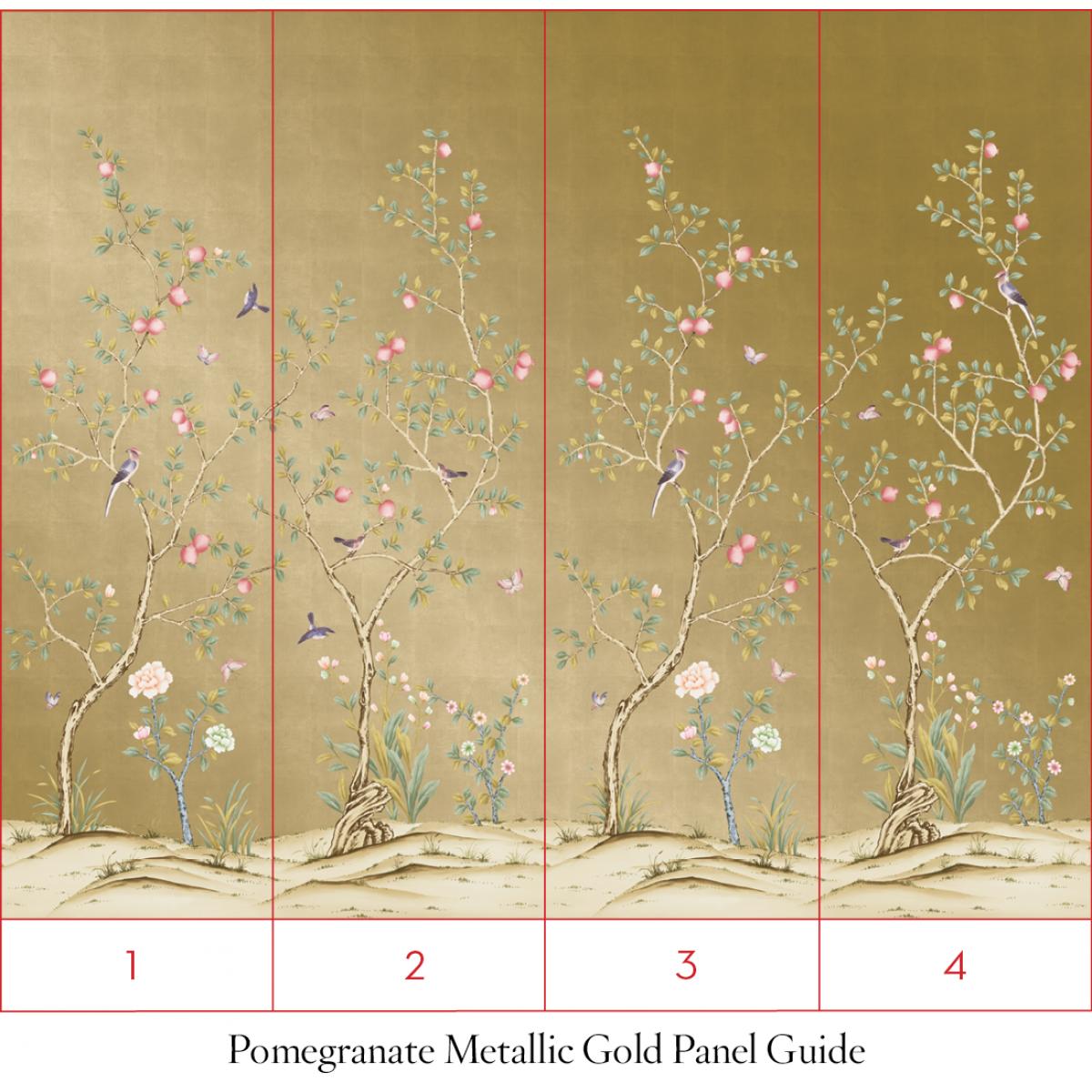 CHINOISERIE Pomegranate Metallic Gold - Tempaper Designs | Getting ...