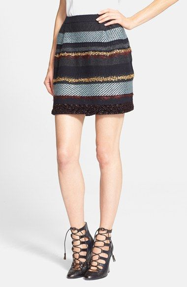 Tory Burch 'Danielle' Metallic Stripe Merino Wool Skirt available at #Nordstrom