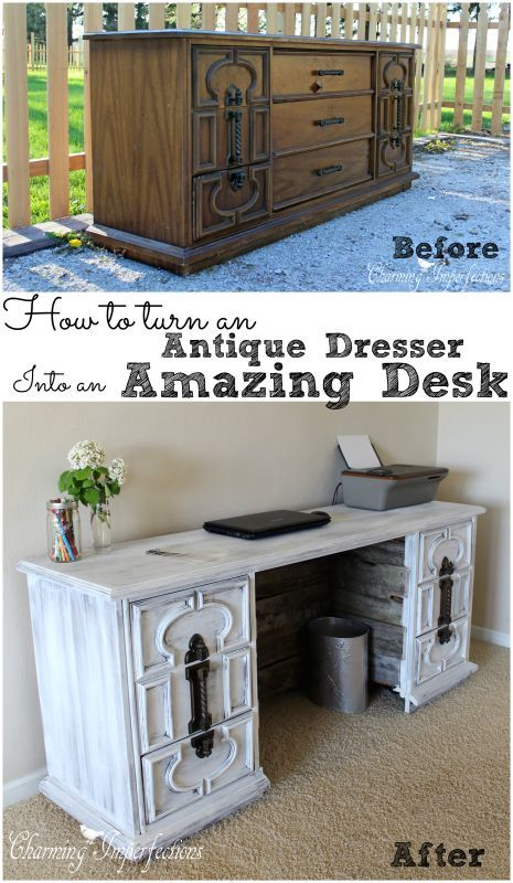 I don't have room for another dresser, but a huge, gorgeous desk to do all  my office work in would be a fabulous addition to our house. This dresser to  desk ... - How To Turn An Antique Dresser Into An Awesome Desk Furniture