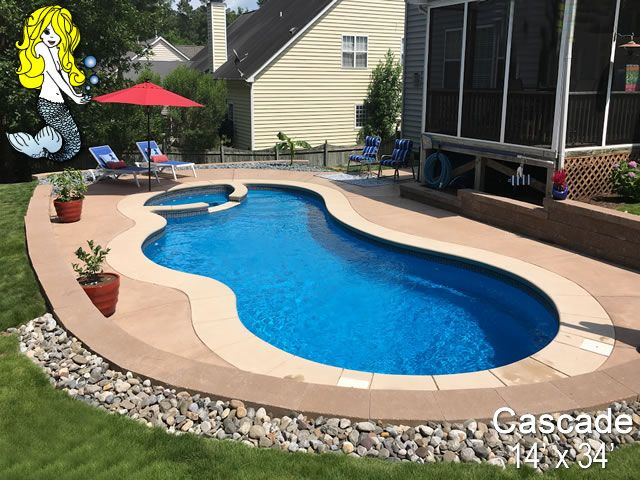Cascade Fiberglass Pool - Swimming Pool with built-in Spa ...