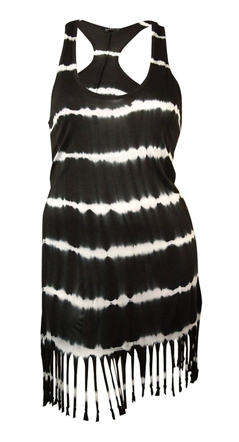 946ed4e7cc051 Women's Clothing, Swimsuits & Cover Ups, Cover-Ups,Women's Tie-Dyed Fringed  Racerback Dress Cover-Up - Black - CA12HRQK8H1 #Fashion #Swimsuits #CoverUps  ...