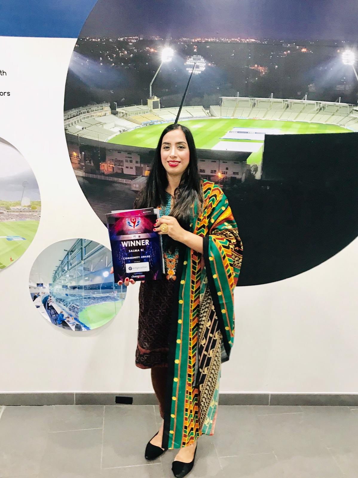 Salma Bi   There are no limits to what you can accomplish, except the limits you place on your own thinking' Someone out there is praying for me as I have only gone & won the Community Award tonight at the Birmingham Sports Awards 2018