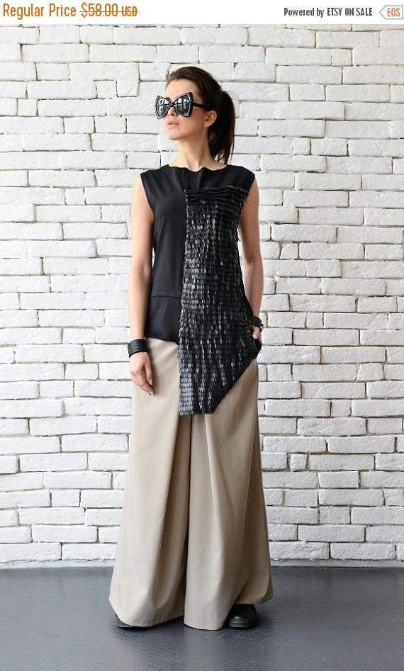 SALE Extravagant Asymmetric Leather Top/Long Short Casual