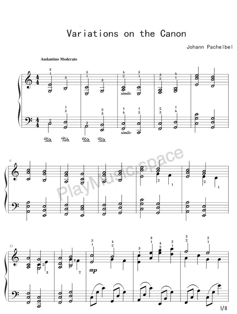 Variations On The Canon Johann Pachelbel Key C Piano