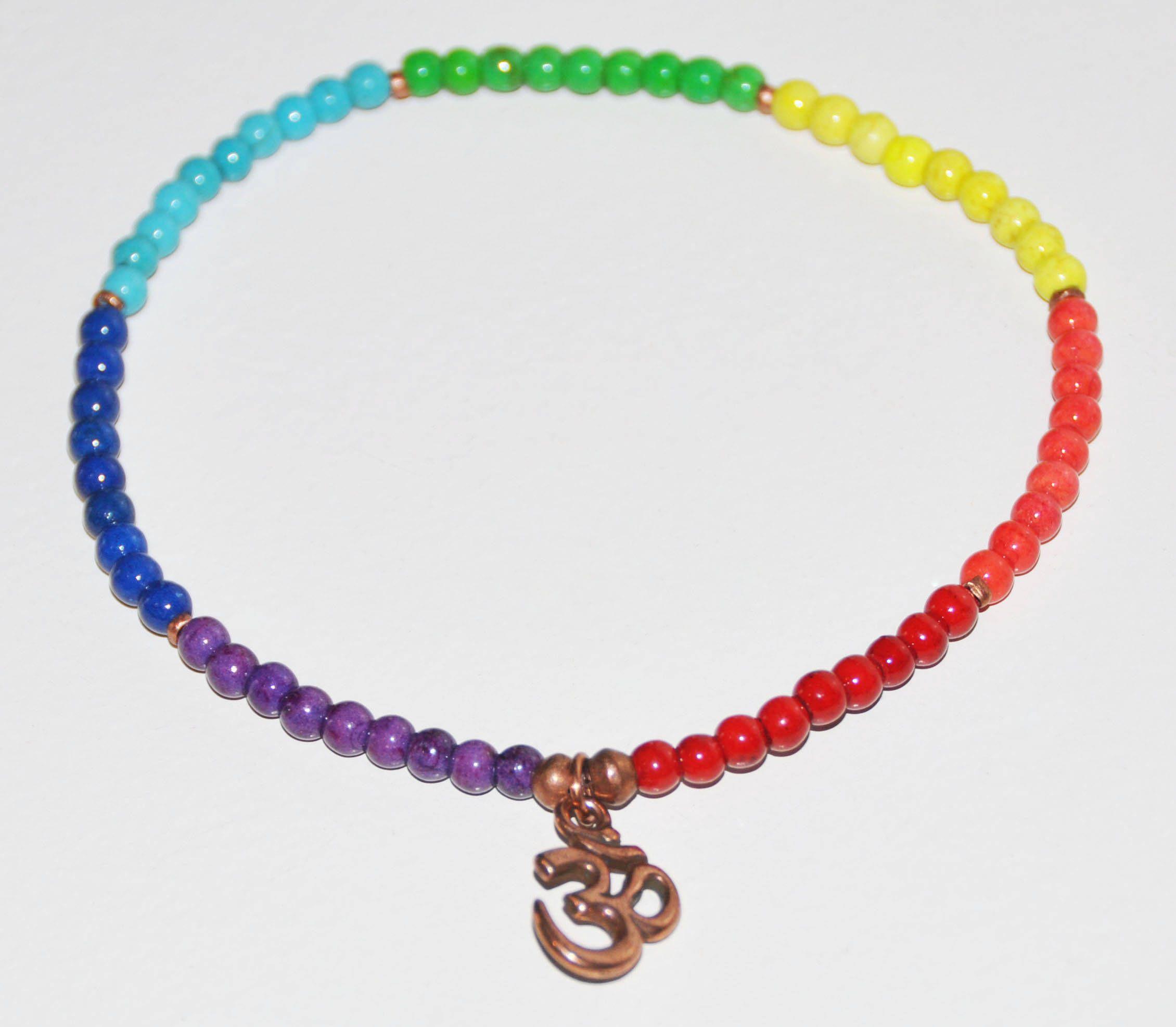 Chakra Anklet Howlite Stretch Ankle Bracelet Gemstone Healing Copper Meditation Calming