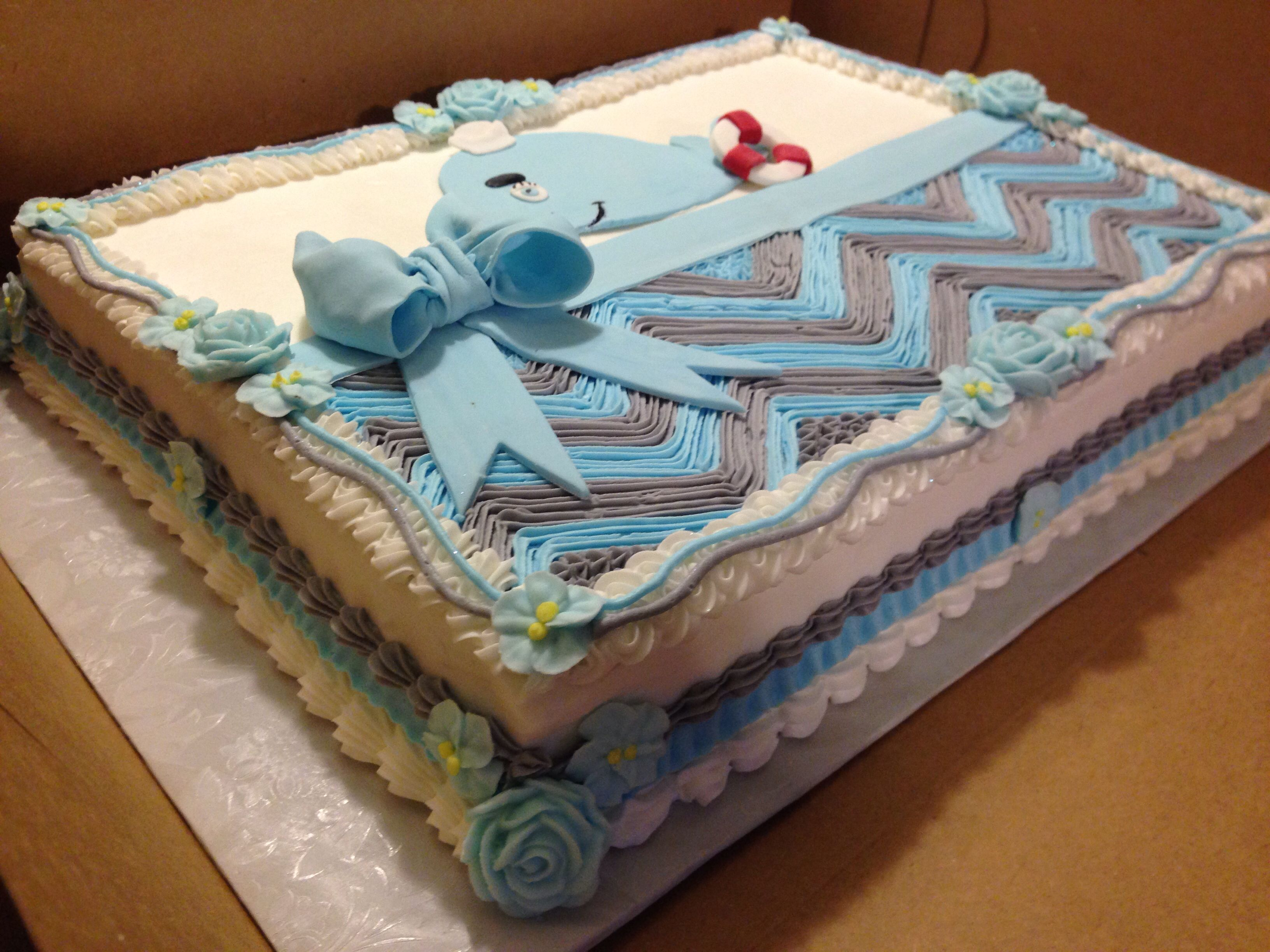 Whale Baby Shower Cake . Marble Cake With Buttercream , Royal , And Fondant  Decorations .