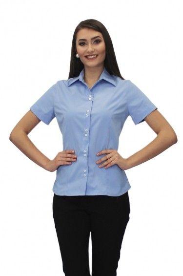 Camisa Social Feminina Jackie Manga Curta - Uniforme SocialRef  BLF ... fe896fc959576