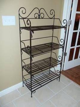 Rod iron shelves wrought iron metal scroll shelf pier one dark pewter col dream solarium for Wrought iron bathroom furniture