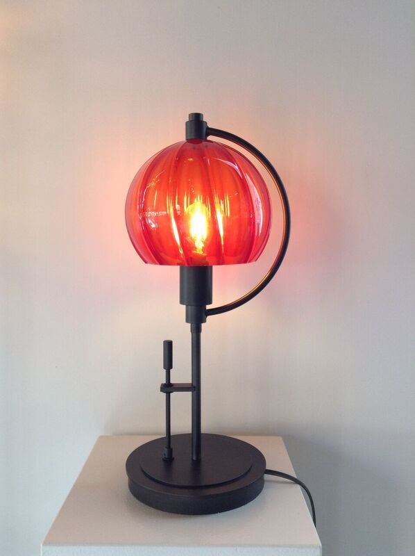 Hubbardton Forge Lamp With N Art Gl Shade In Red Handcrafted Asheville Nc