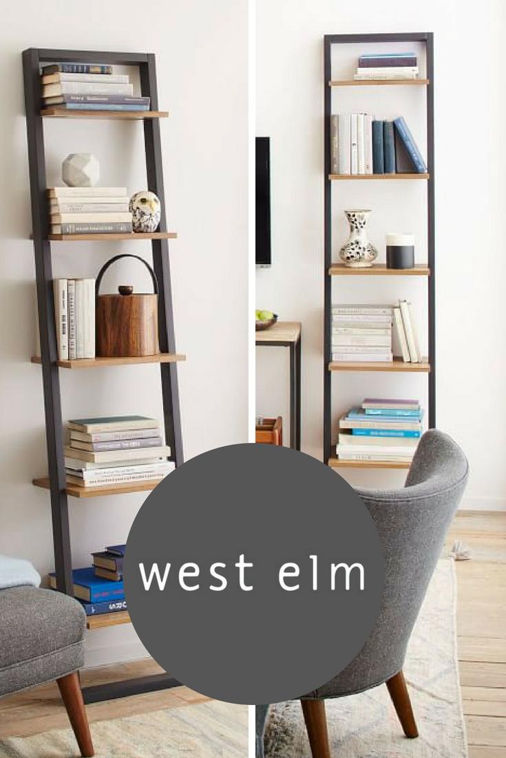Ladder bookshelf narrow whiteespresso