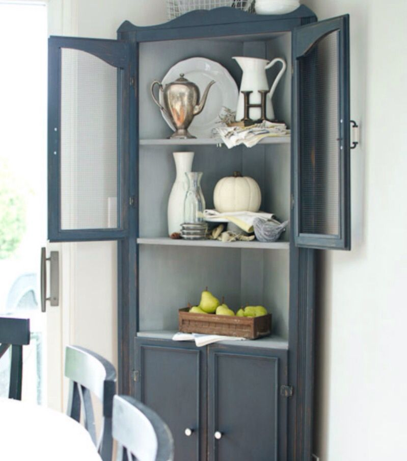 Beadboard Corner Cabinet With Glass Doors For Dining Room