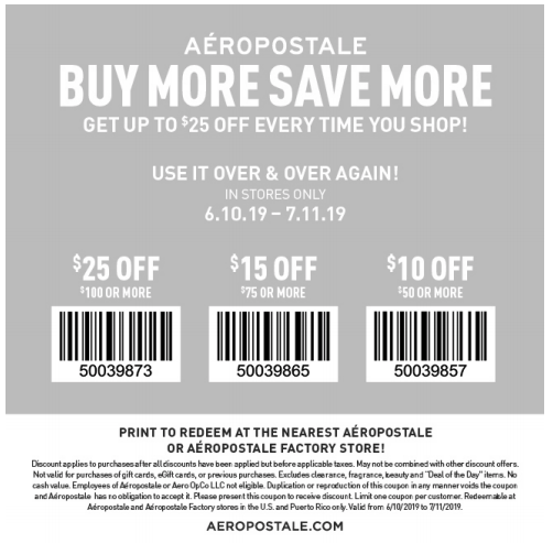 Aeropostale Coupons 2019 Printable Coupons And Coupon Codes