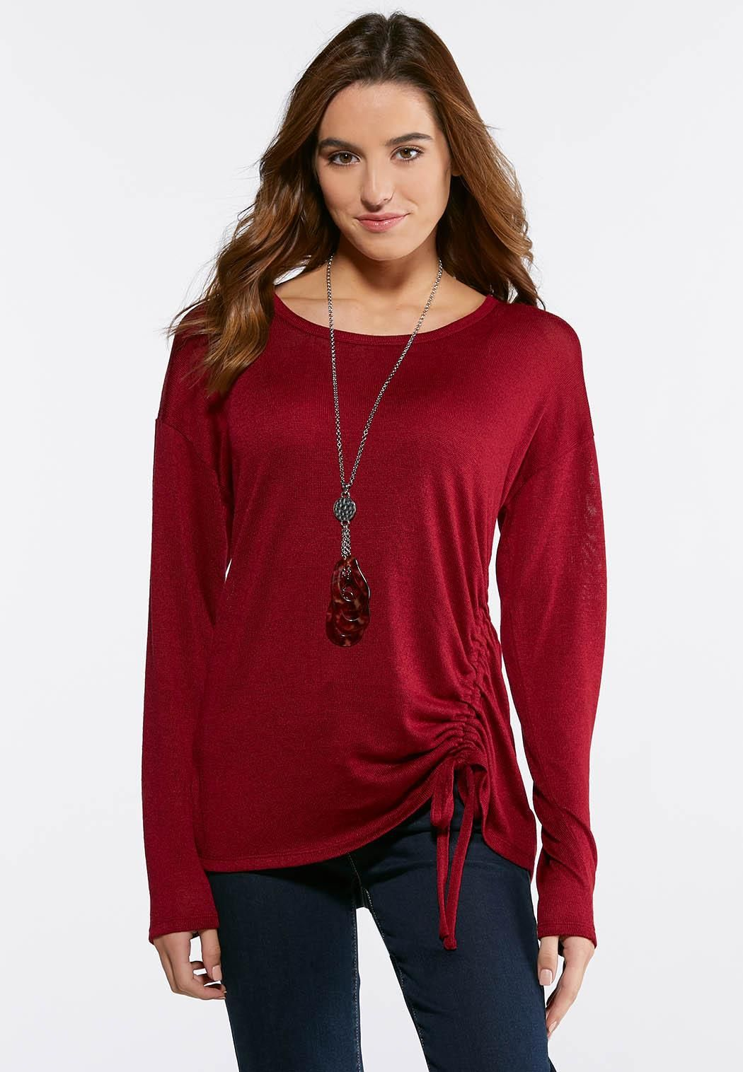 fb26d7901e3dd0 Plus Size Front Cinch Hacci Top Tees & Knit Tops Cato Fashions ...