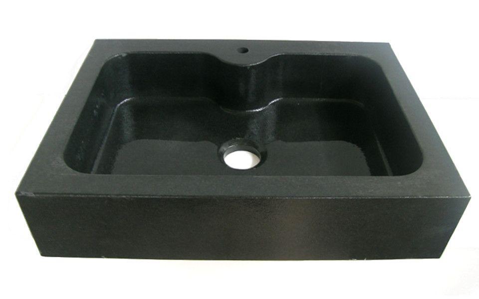 Lavello cucina in granito Nero Assoluto ad una vasca, testa dritta e ...