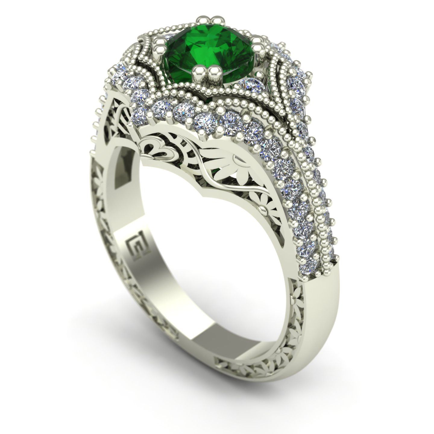 Emerald and diamond ring with floral carving in 14k white gold ...