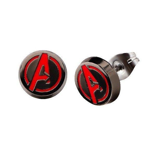 Marvel The Avengers Logo Stainless Steel Stud Earrings ($20) ❤ liked on Polyvore featuring jewelry, earrings, black, unisex earrings, post back earring, stainless steel jewelry, earring jewelry and stainless steel earrings