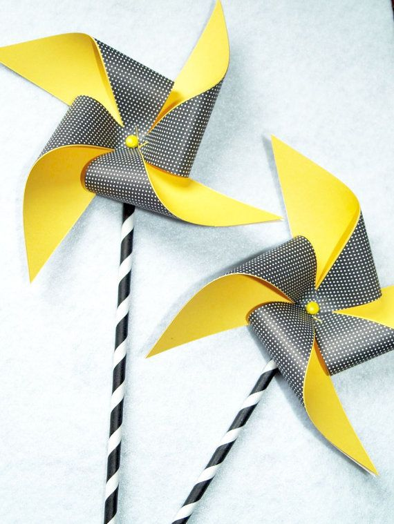 Yellow and Black with Dots Paper Pinwheels on Black by AFeltAffair, $10.00