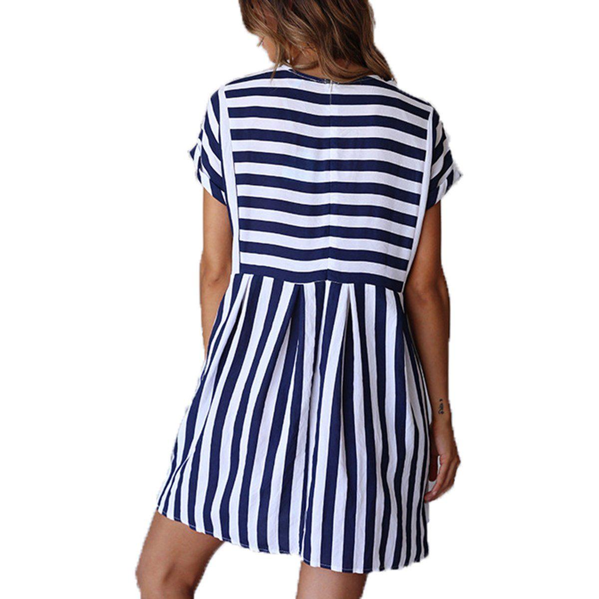 cf5edbac100d ChongXiao Women Stiped Dress Casual Cute Short Sleeve ONeck Mini Summer  Dresses for Women Blue M