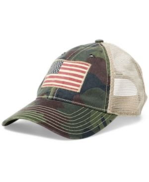 Lauren Ralph Camo Trucker Polo Men's Mesh Hat GreenProducts In SUzMqVp