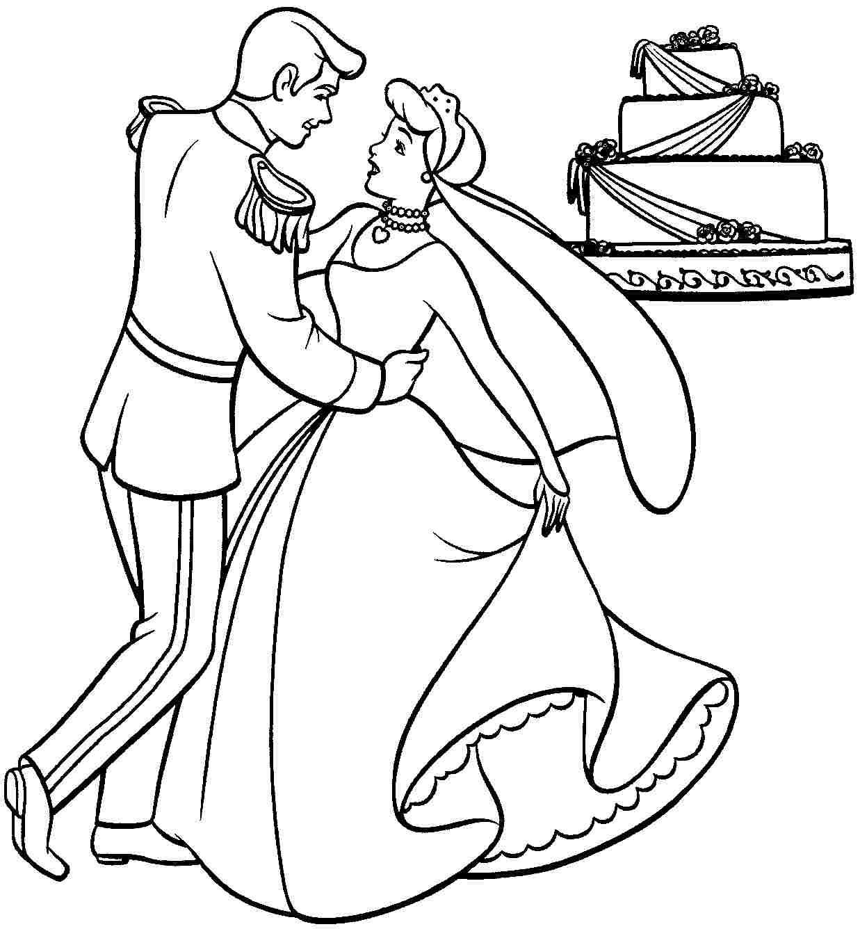 Coloring Pages Disney Princess Cinderella Printable For